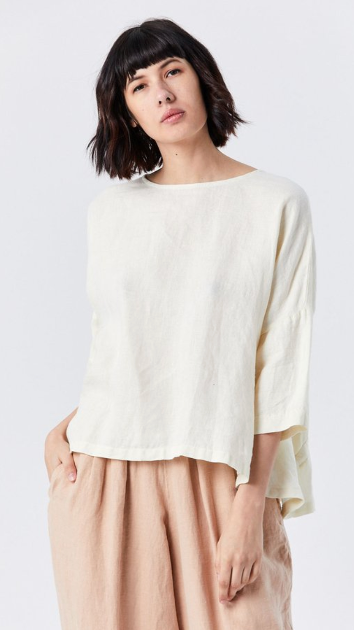 Black Crane Gathered Top - Cream