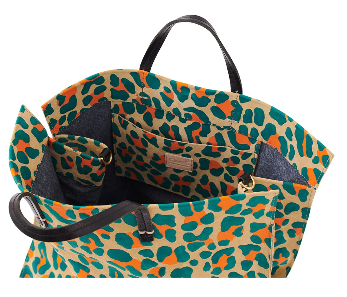 Clare Vivier simple Tote - Neon Cat Suede Teal