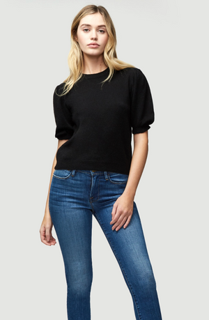 Frame Shirred Short Sleeve Sweater - Black