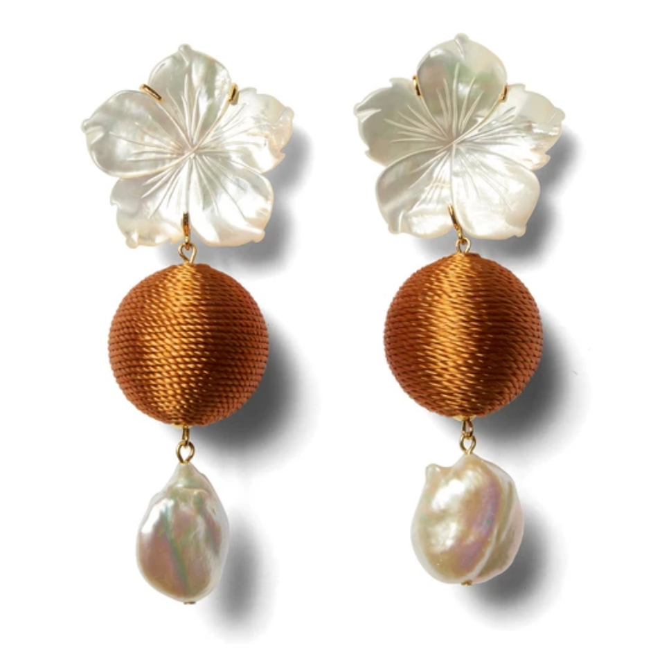 Lizzie Fortunato Paper White Drop Earrings - Amber