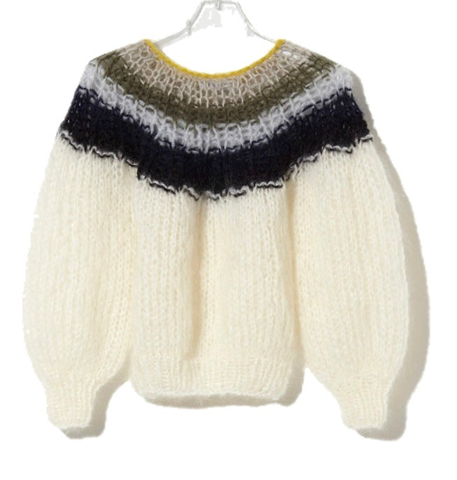 Maiami Mohair Pleated Sweater - Cream
