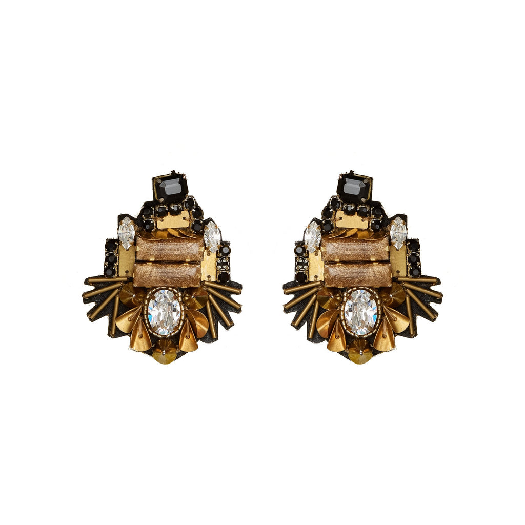 Mignonne Gavigan Heather Mini Earrings - Black/Gold