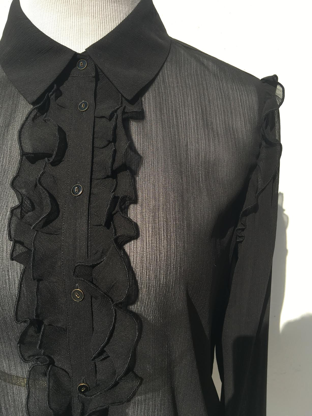 Button Up Shirt W/ Ruffle Detailing