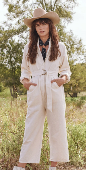 The Great Herringbone Roundtop Jumpsuit - Cream