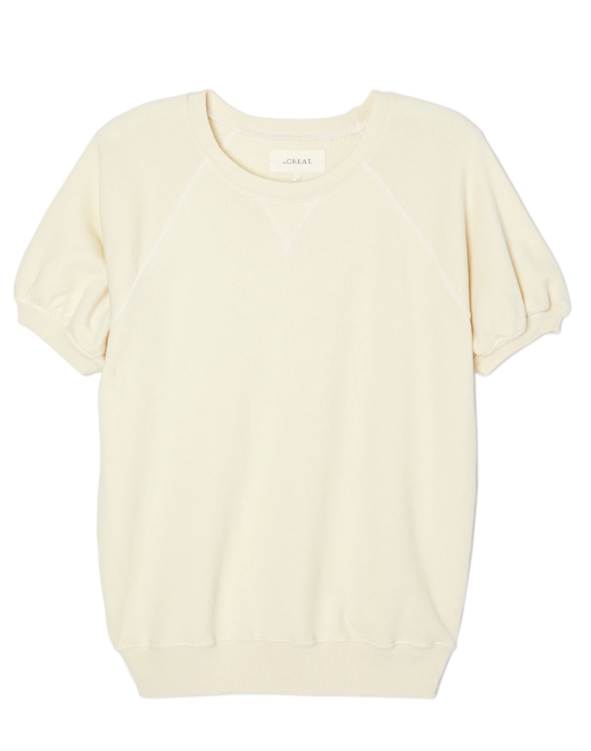 The Great Short Puff Sleeve Sweatshirt - Washed White