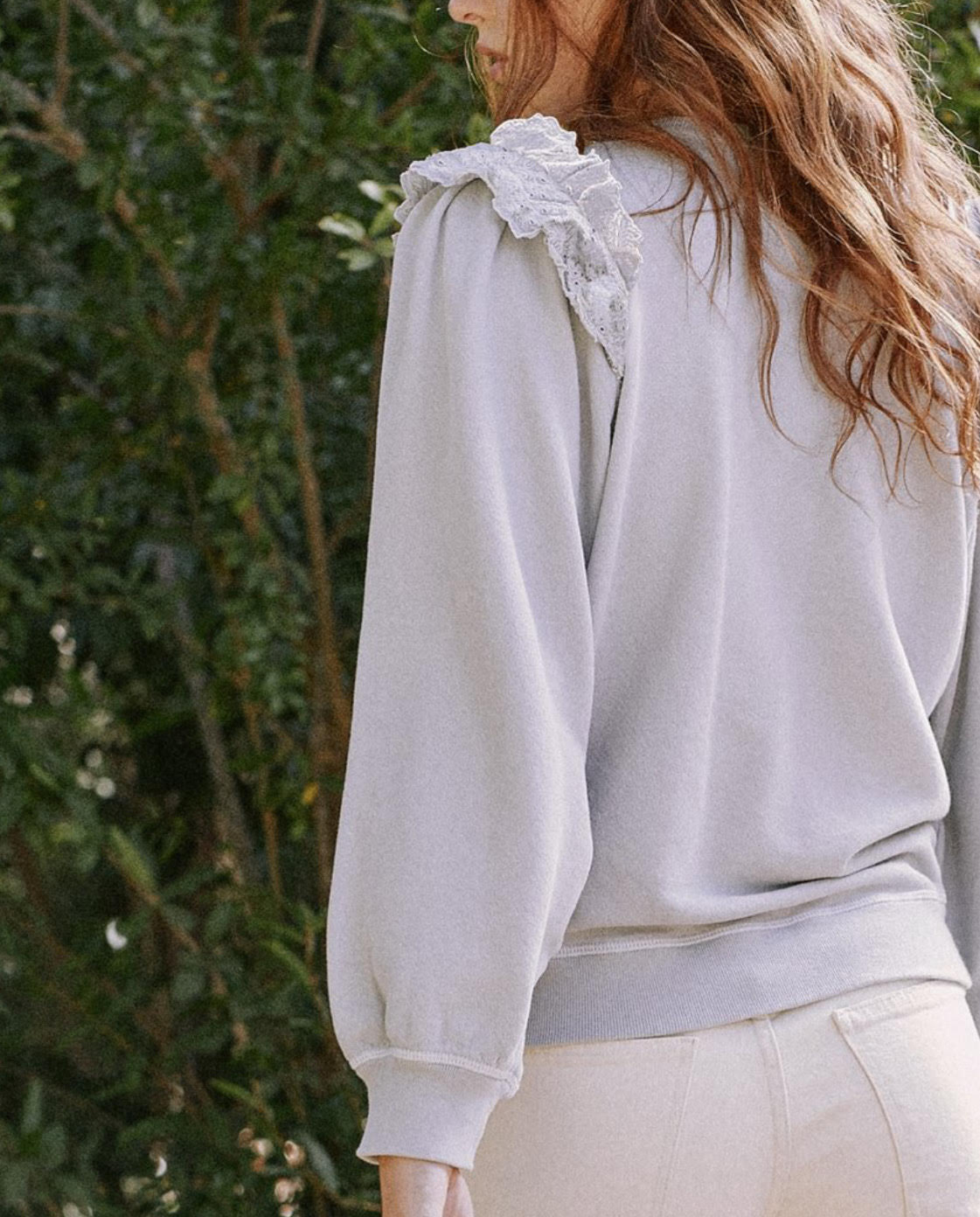 The Great Eyelet Pleat Sleeve Sweatshirt - Prairie Floral