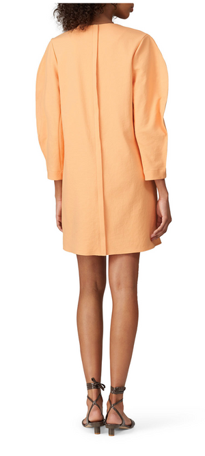 Tibi Chalky Drape Shift Dress - Melon
