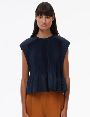 Tibi Pleated Yoke Top - Navy