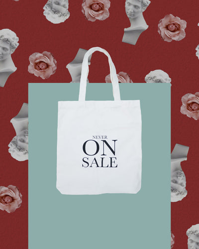 NEVER ON SALE Canvas Tote Bag