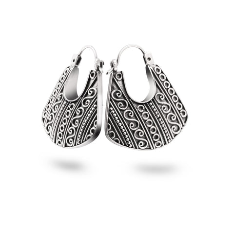 Indonesian Batik Ornamentation Silver Traditional Hoop Earrings