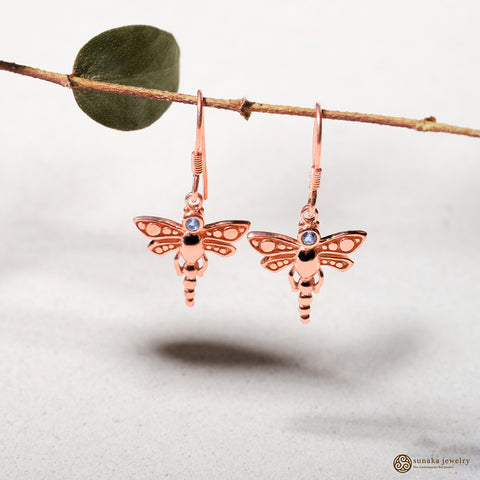 Anting Capung Bali Rose Gold with Gemstone Dangle Earrings