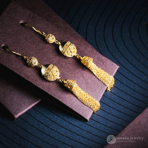 Anting Songket Gold Plated Drop Chain Earrings