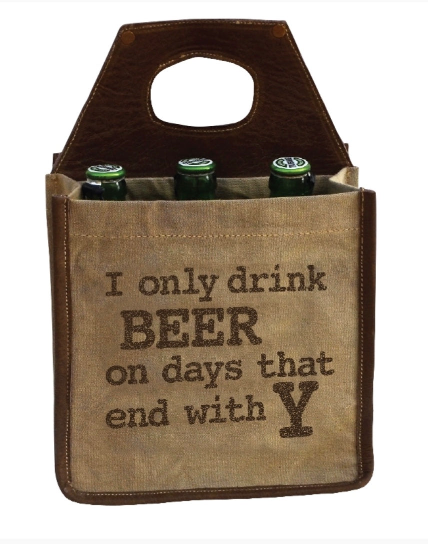 Beer Carrier holds a six pack - made from recycled military tents - The Wall Kids, Inc.