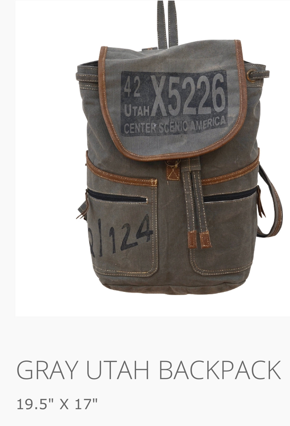 Gray Utah Backpack X5226 Made from Military Truck and Tent Canvas - The Wall Kids, Inc.