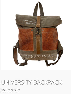 University BackPack Made from military tent and truck canvas - The Wall Kids, Inc.
