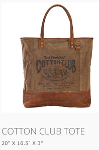 Cotton Club Tote Made From military tents and truck canvas
