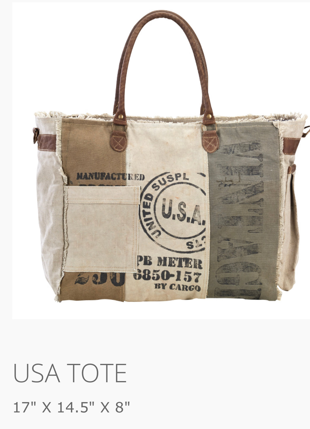 USA Tote Made from military tent and truck canvas - The Wall Kids, Inc.