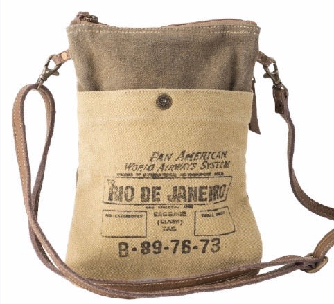 RIO DE JANEIRO PASSPORT CROSSBODY / SHOULDER CANVAS BAG - The Wall Kids, Inc.