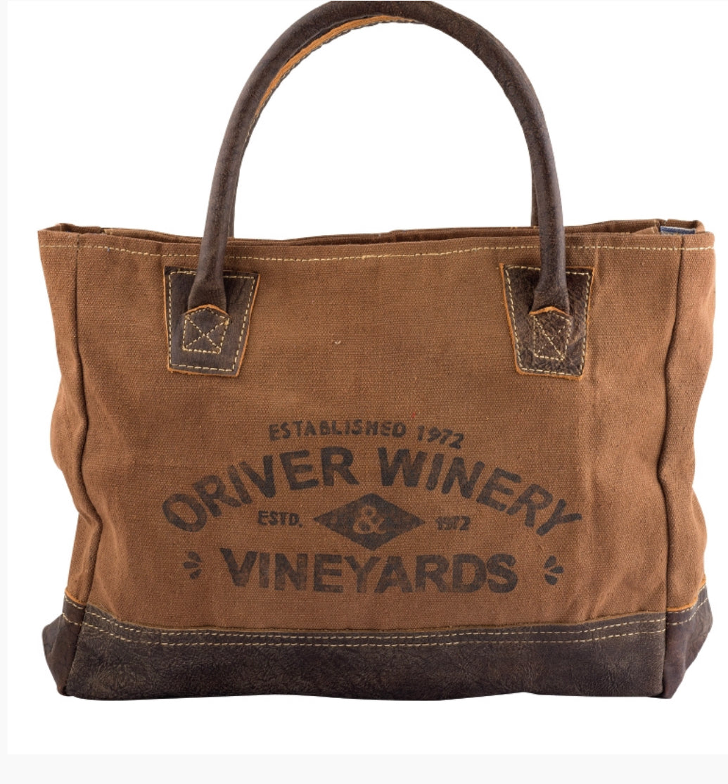 Canvas Winery Tote Bag with Leather Straps - The Wall Kids, Inc.