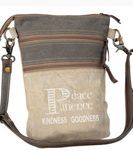 PEACE & PATIENCE CANVAS CROSSBODY SHOULDER DOUBLE ZIP BAG - The Wall Kids, Inc.