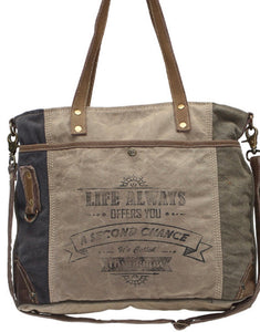 LIFE ALWAYS OFFERS YOU A 2ND CHANCE CROSSBODY /SHOULDER CANVAS BAG - The Wall Kids, Inc.