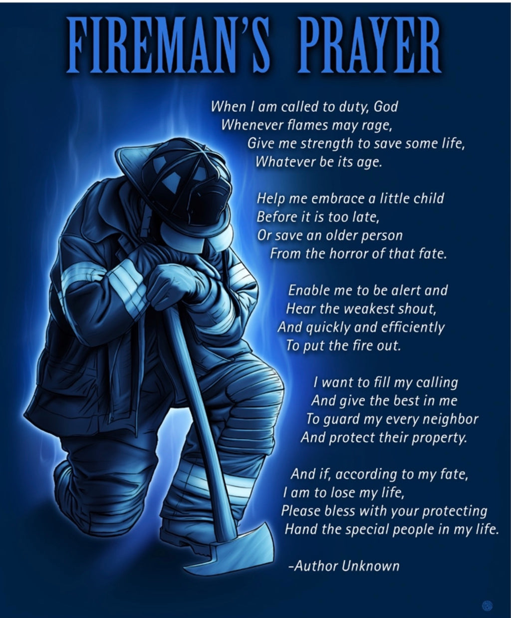 Firemans Prayer 60 X 50 Fleece Blanket - The Wall Kids, Inc.