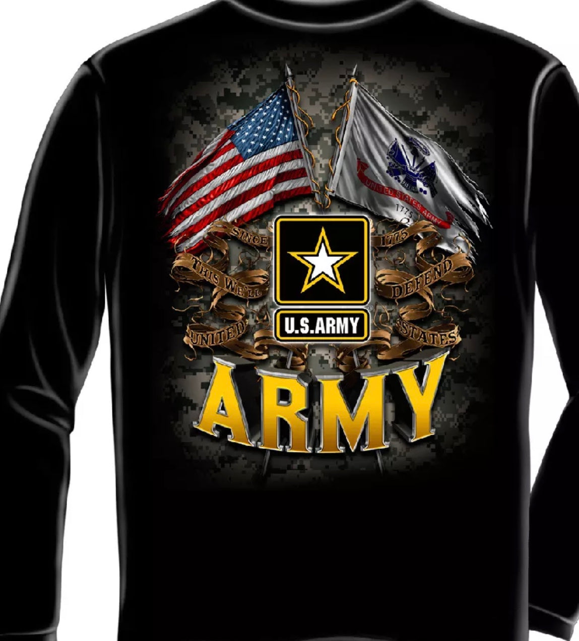 Army 2 Flag Long Sleeve T Shirt - The Wall Kids, Inc.