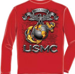 Marine Red Long Sleeve T Shirts