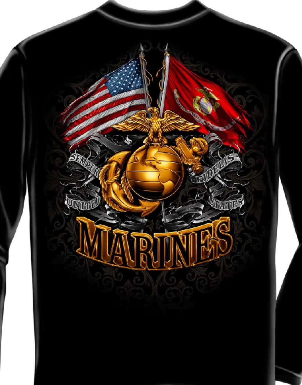 Marine 2 Flag Foil Long Sleeve T-Shirt - The Wall Kids, Inc.