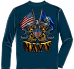 Navy 2 Flag Long Sleeve T-Shirt
