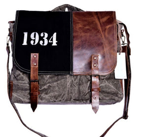 1934 PRINT LAPTOP BAG CANVAS/LEATHER - The Wall Kids, Inc.