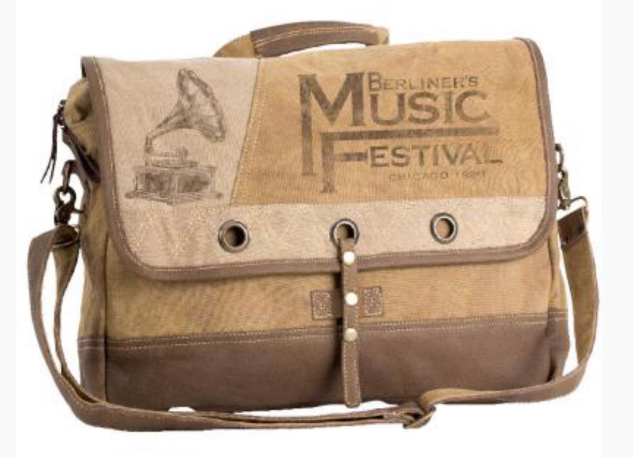 MUSIC FESTIVAL MESSENGER CANVAS BAG WITH STRAP - The Wall Kids, Inc.