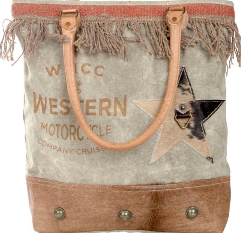 WMCC WESTERN MOTORCYCLE BAG WITH COWHIDE STAR - The Wall Kids, Inc.