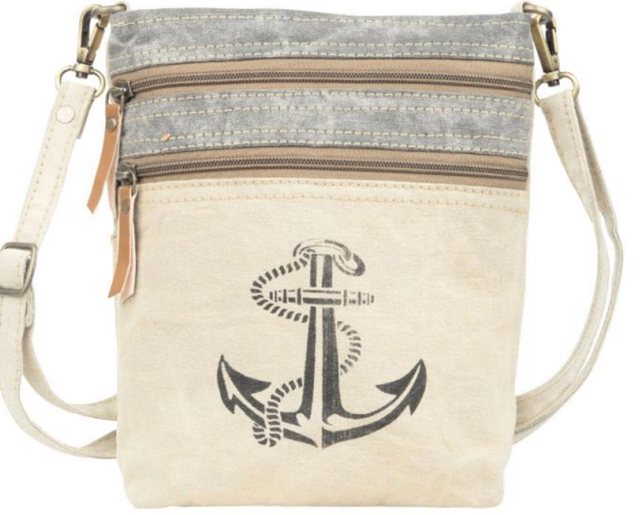 ANCHOR WITH TWO ZIPPER CANVAS SHOULDER/CROSSBODY - The Wall Kids, Inc.