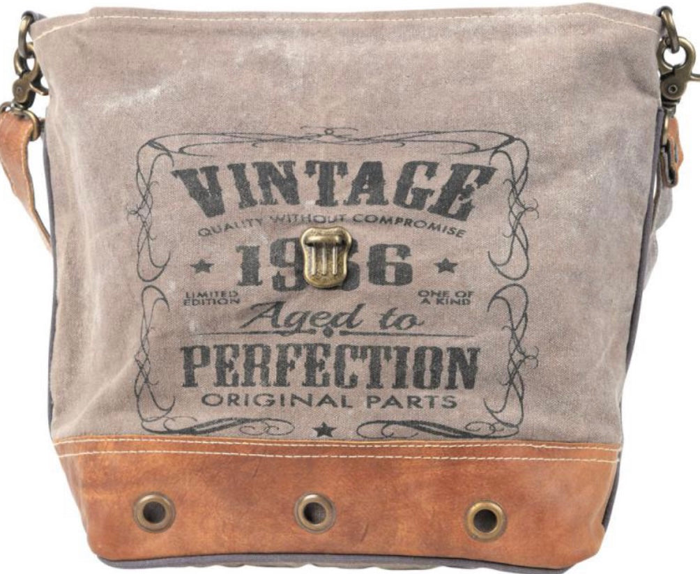 VINTAGE PERFECTION 1986 SHOULDER BAG WITH LEATHER TRIM AND FLAP - The Wall Kids, Inc.