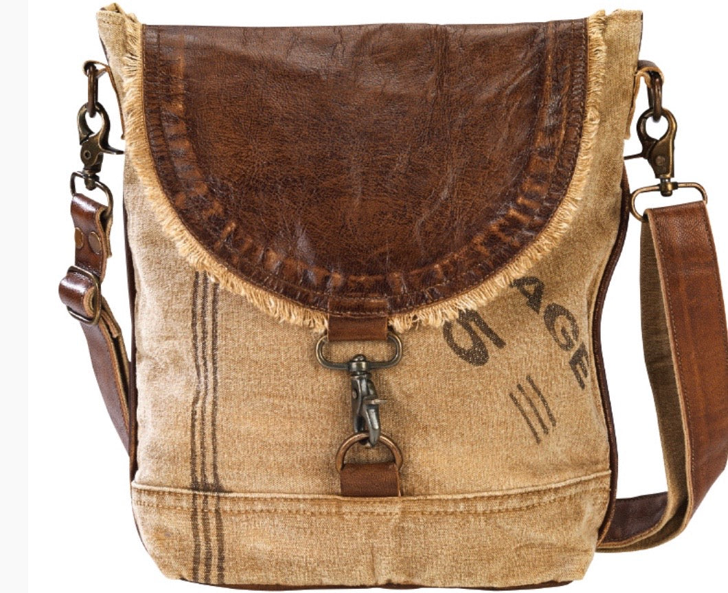 LEATHER FLAP SHOULDER/ CROSS BODY CANVAS BAG - The Wall Kids, Inc.