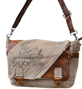 ENJOY THE RIDE CANVAS MESSENGER BAG WITH STRAPS - The Wall Kids, Inc.