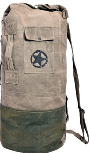 ROUND ARMY STYLE CANVAS TRAVELLER DUFFLE BAG - The Wall Kids, Inc.