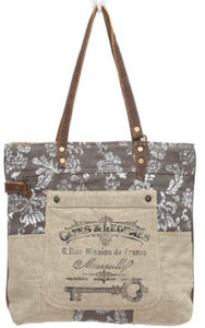 OLD KEY LINEN TOTE BAG - The Wall Kids, Inc.