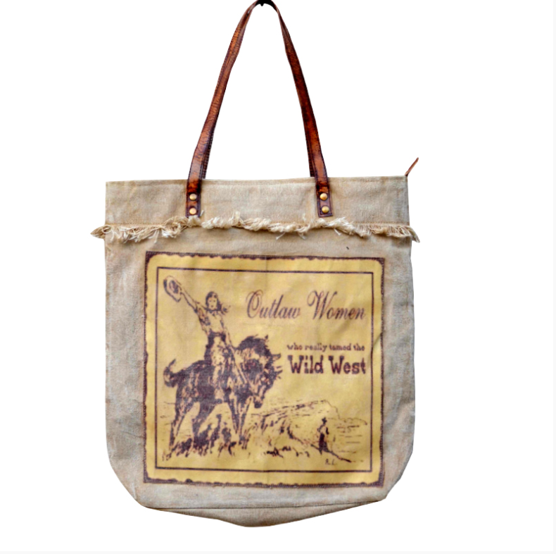 Outlaw Women Tote made from Military Tent Canvas - The Wall Kids, Inc.