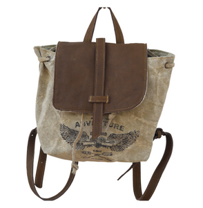 White Stamping Backpack with Flap made from Military Tents