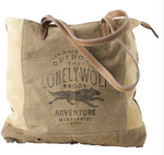 Lonely Wolf Tote made from Military Tents - The Wall Kids, Inc.