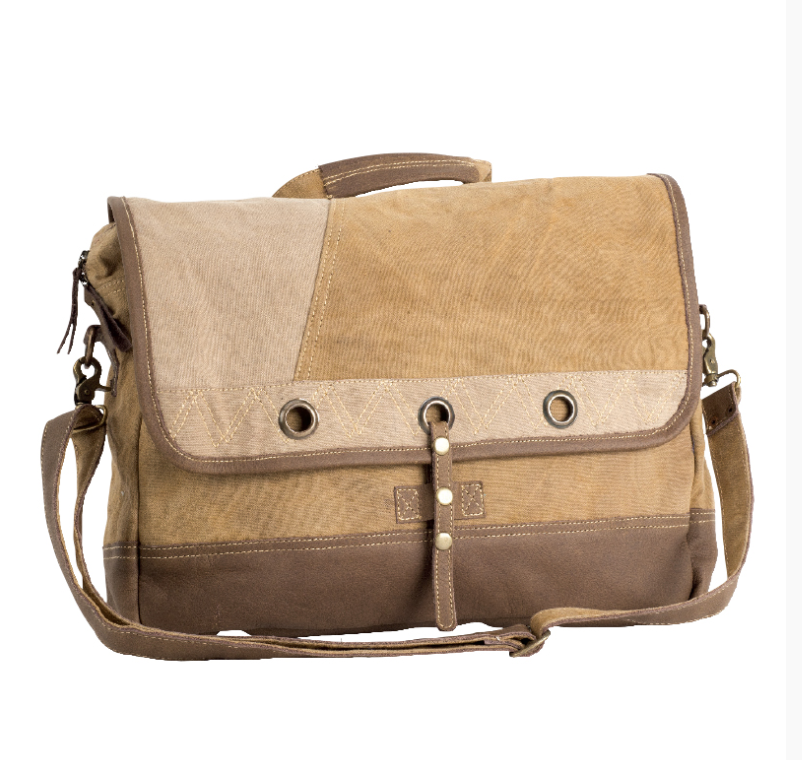 Plain Laptop Messenger Bag made from Military Tents