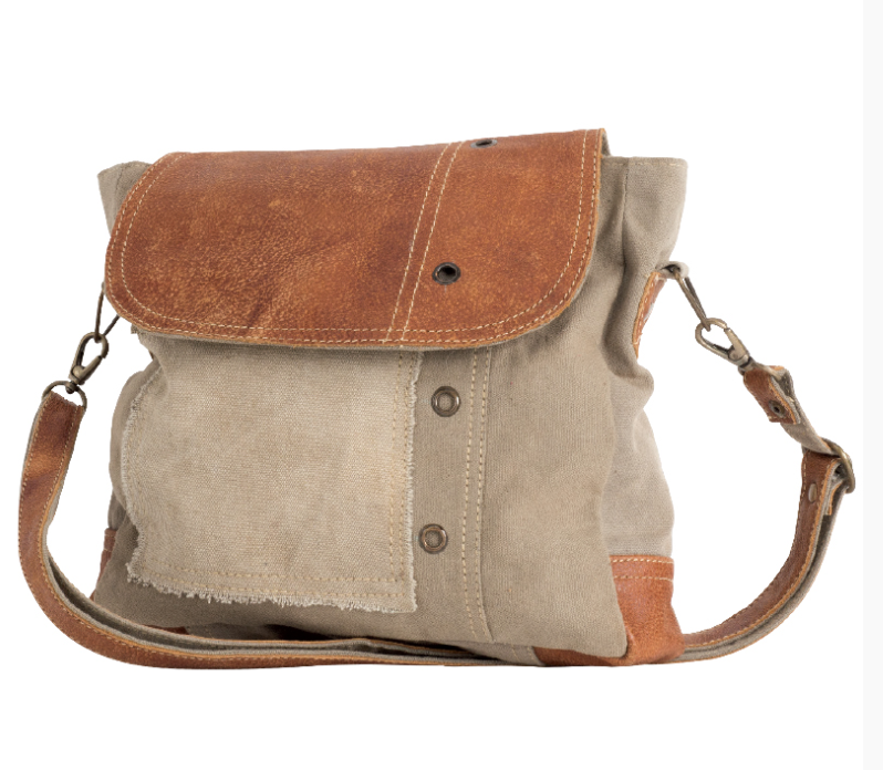 Plain Shoulder Bag Leather made with Military Tents - The Wall Kids, Inc.