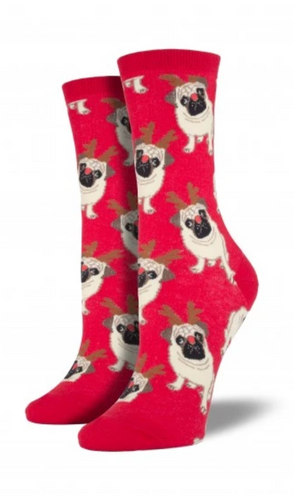 Ladies Antler Pug Socks