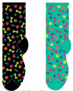 Ladies Bones & Paw Print Socks