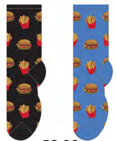 Ladies Hamburger & Fries Socks