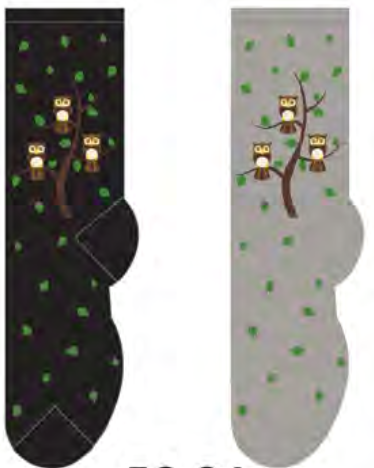 Ladies Owl Family Tree Socks