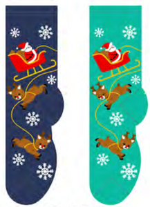 Ladies Santa & Reindeer Socks