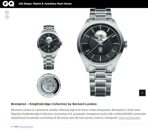 Bernard London Watches Feature by GQ Magazine UK - Brompton from The Knightsbridge Collection